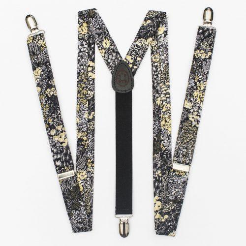 Black Flowers Floral Clip-On Suspenders