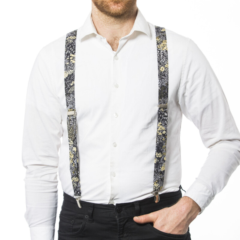 Black Flowers 1″ Clip-On Suspenders
