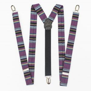 Purple Multi Striped Clip-On Suspenders