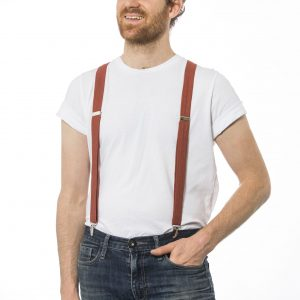 Rustic Clay Red Orange Suspenders