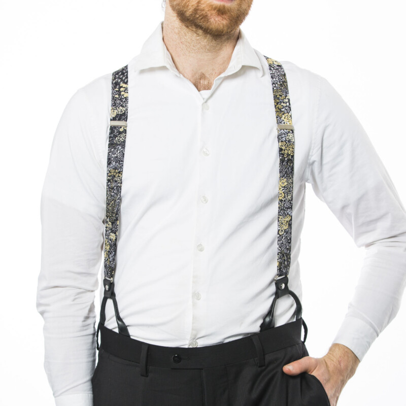 Black Flowers 1.5″ Button-On Suspenders