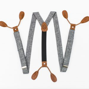 "Indigo Linen 1"" Button-On Suspenders"