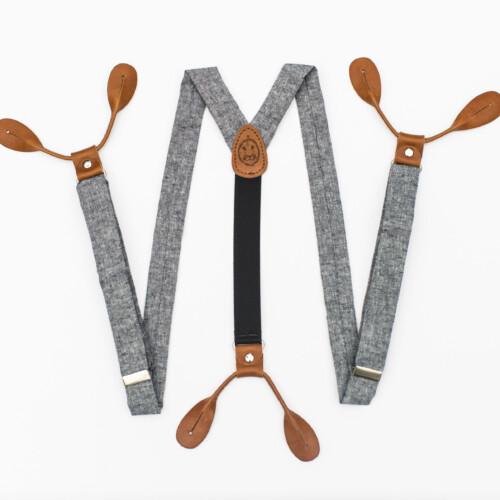 """Indigo Linen 1"""" Button-On Suspenders"""