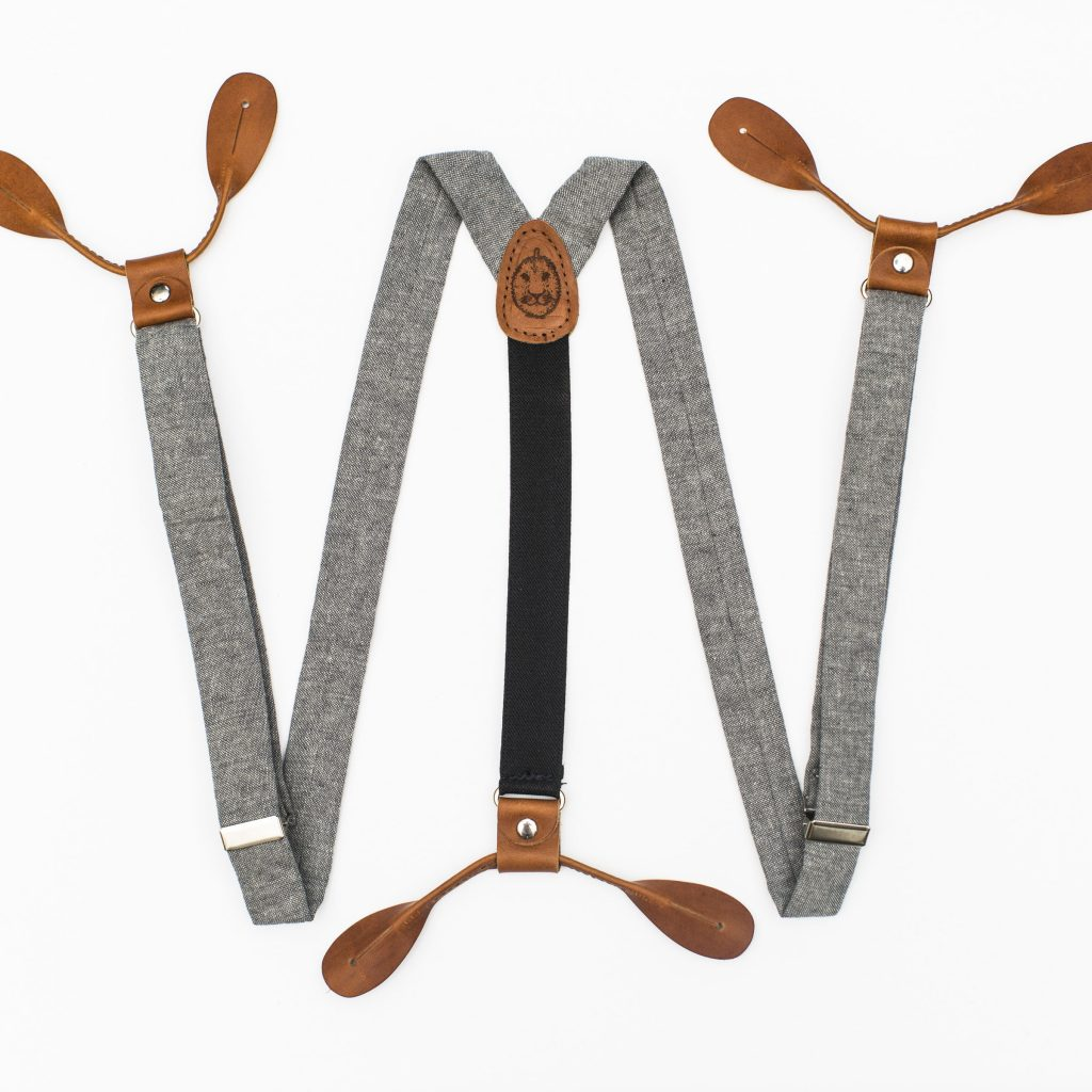 "Gray Linen 1"" Button-On Suspenders"