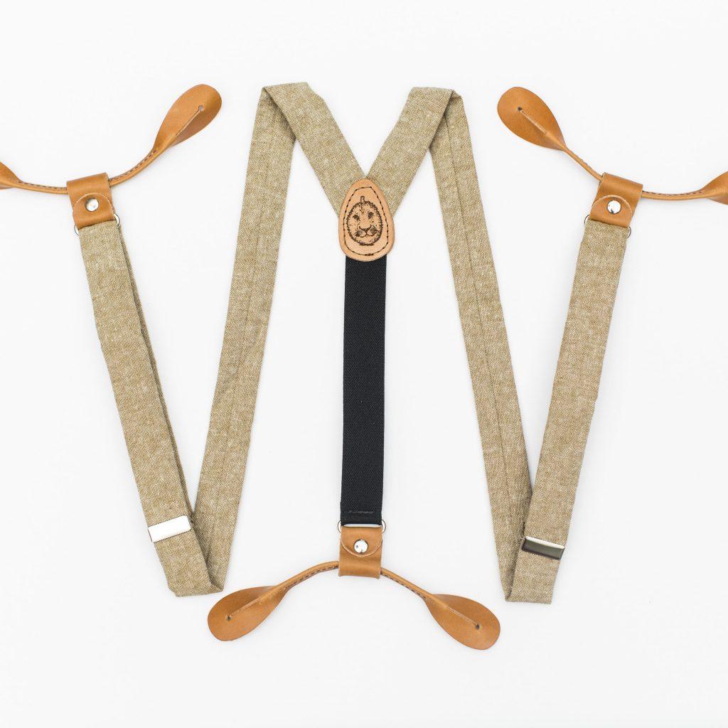 "Tan Linen 1"" Button-On Suspenders"