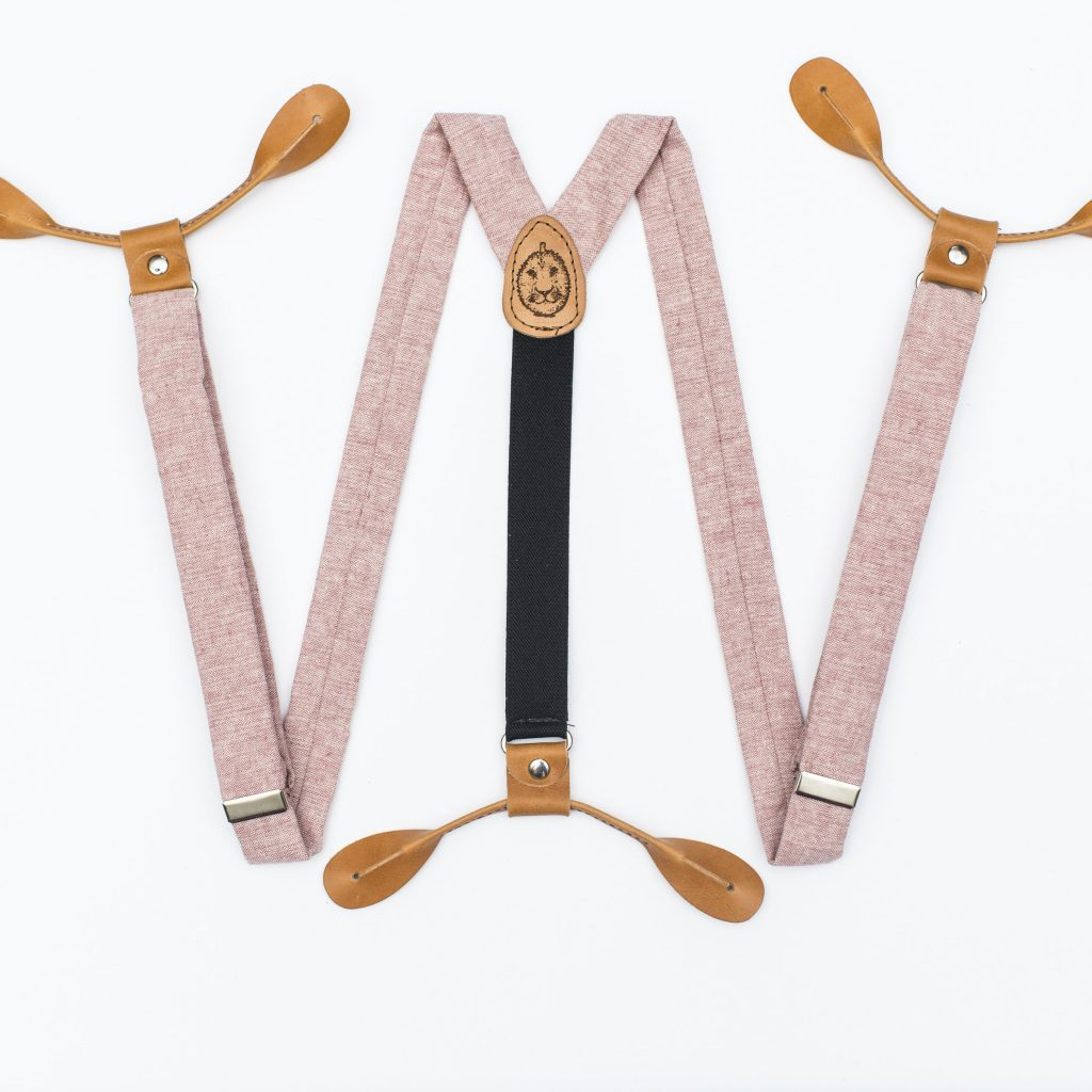 "Pink Linen 1"" Button-On Suspenders"