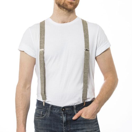 "Olive Linen 1"" Clip-On Suspenders"