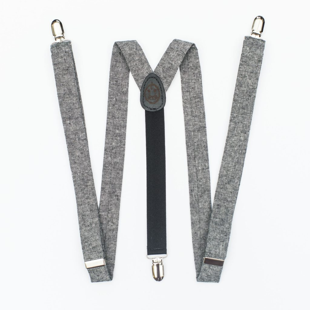 "Black Linen 1"" Clip-On Suspenders"