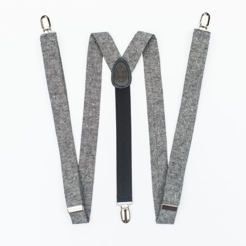 "Skinny Suspenders - Black Linen 1"" Clip-On Suspenders"