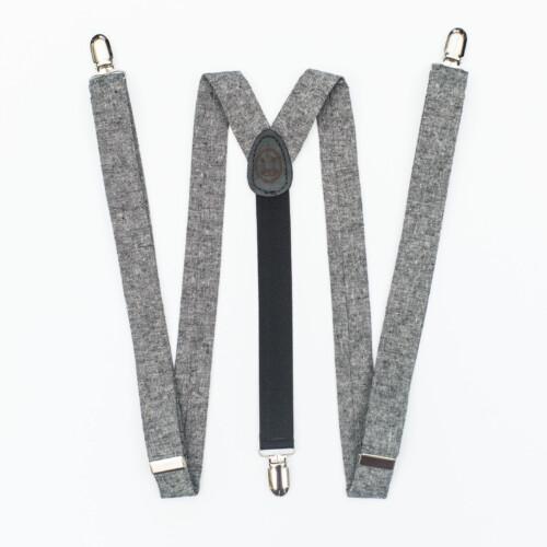 """Black Linen 1"""" Clip-On Women's Suspenders"""