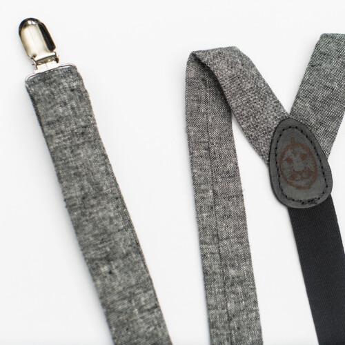 Black Linen 1″ Clip-On Suspenders