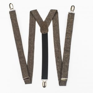 "Dark Brown Suspenders - Espresso Linen 1"" Clip-On Suspenders"
