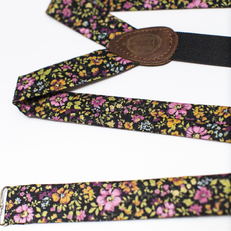 Night Garden Floral 1″ Clip-On Suspenders