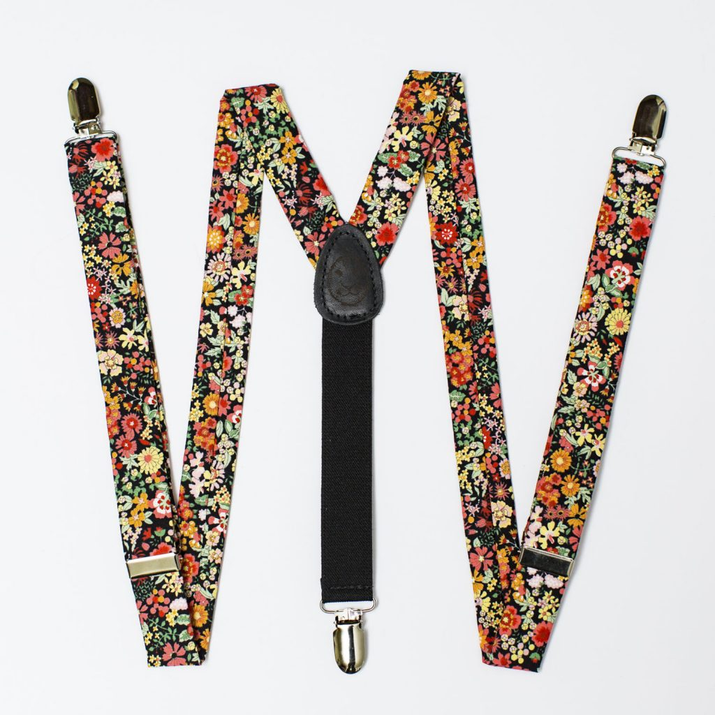 "Wildflower Floral 1"" Clip-On Suspenders"