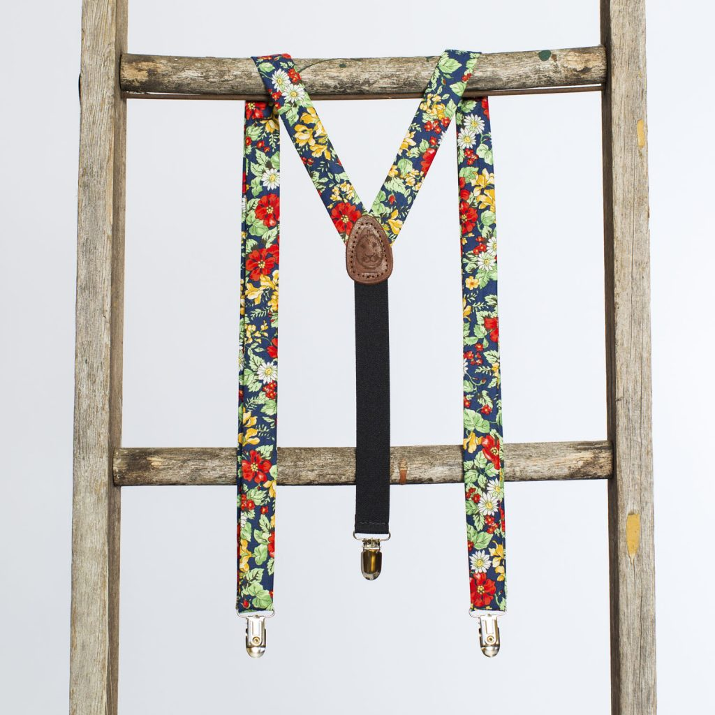 "Americana Floral 1"" Clip-On Suspenders"