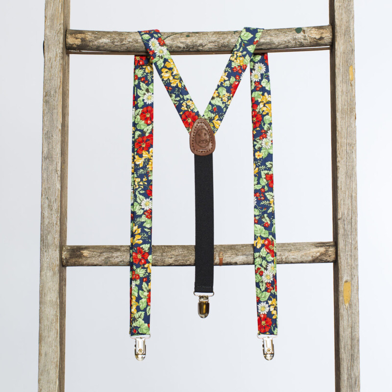 Americana Floral 1″ Clip-On Suspenders