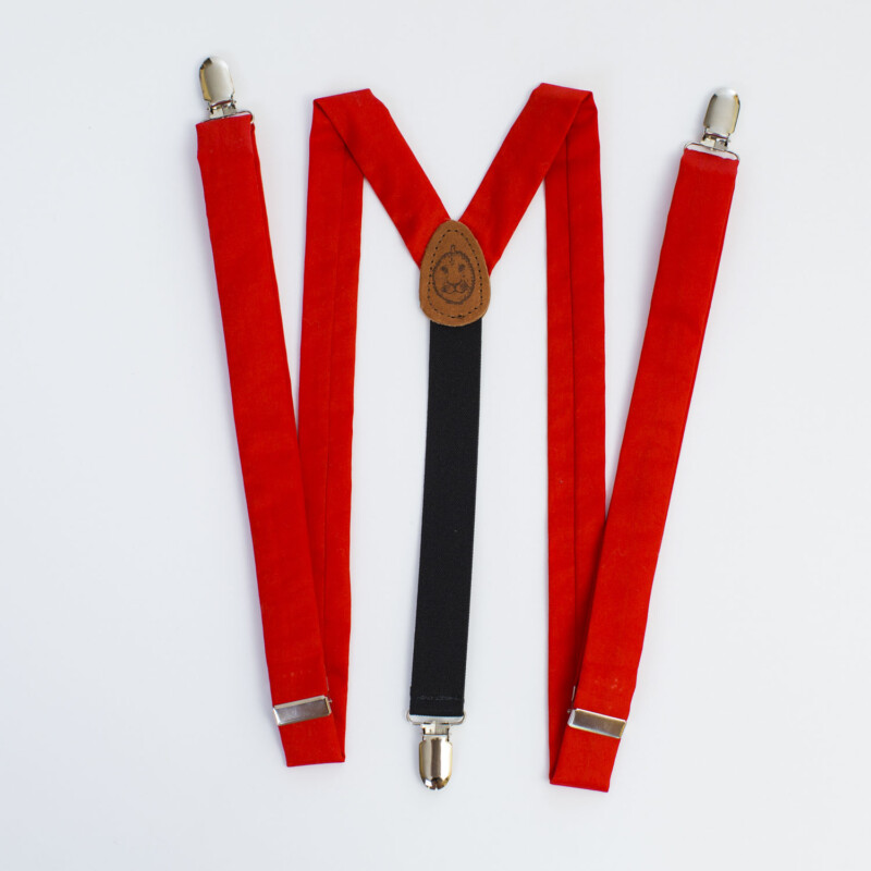 "Red Sateen 1"" Clip-On Women's Suspenders"