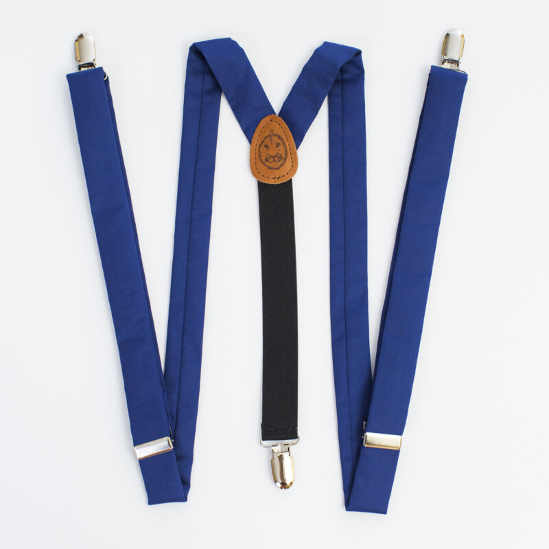 "Navy Blue Sateen 1"" Clip-On Suspenders"