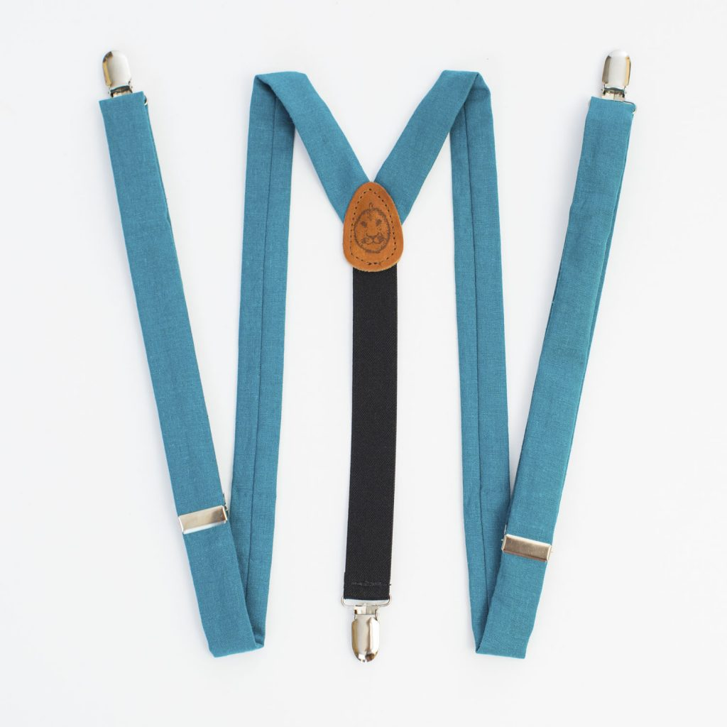 "Turquoise Linen 1"" Clip-On Women's Suspenders"