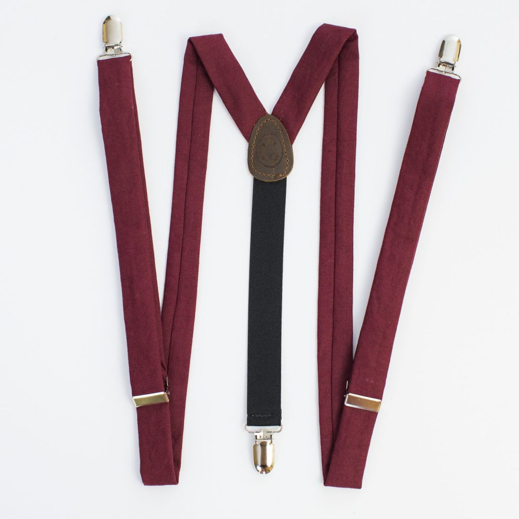 "Crimson Linen 1"" Clip-On Women's Suspenders"