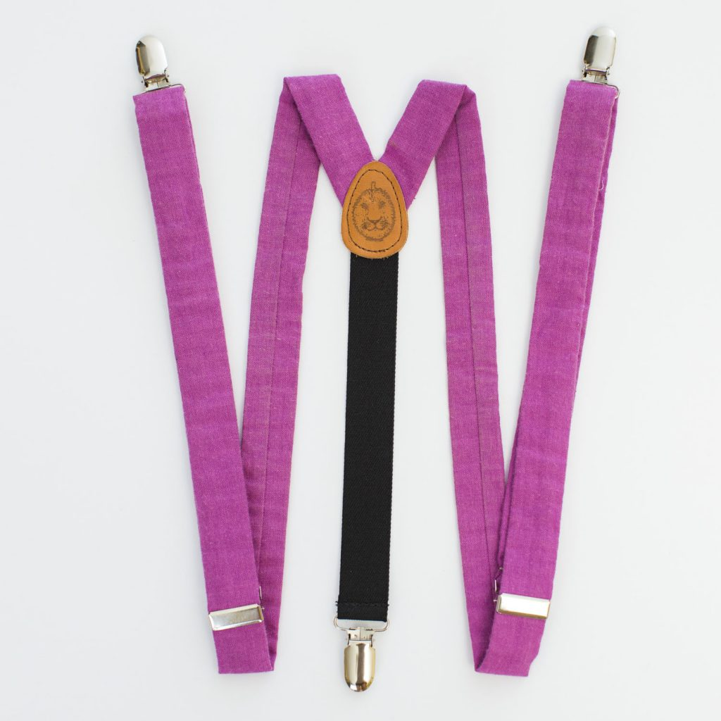 "Pink 1"" Clip-On Suspenders"