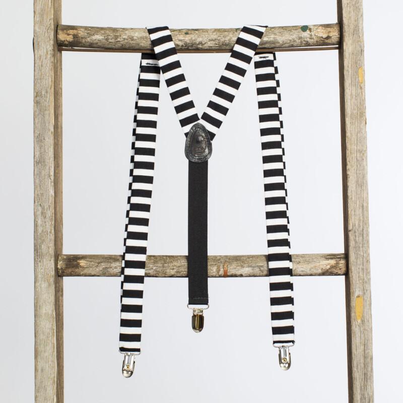Black & White Striped 1″ Clip-On Suspenders