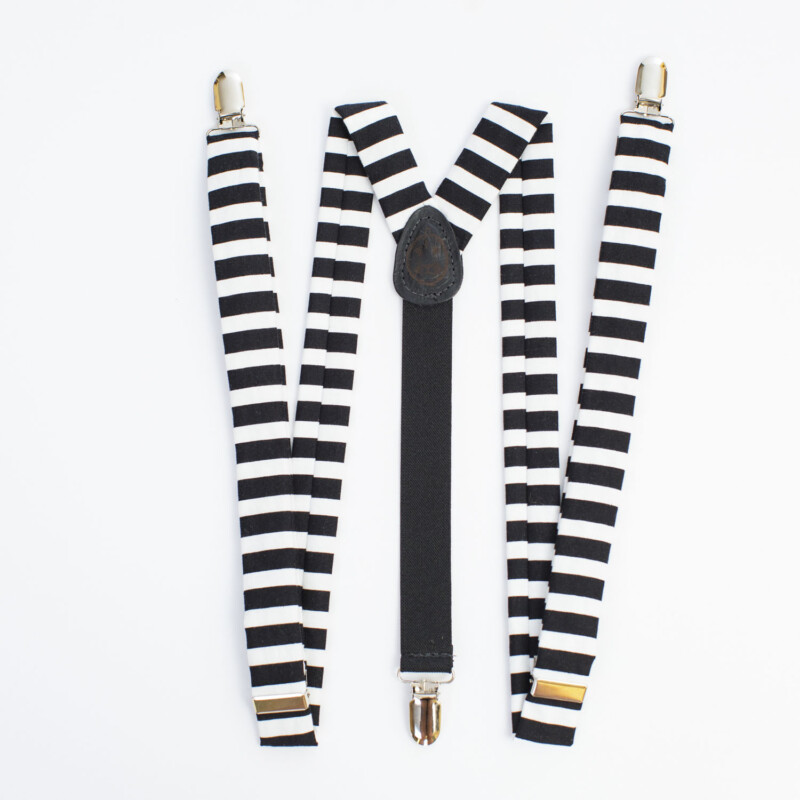 """Black & White Striped 1"""" Clip-On Suspenders"""