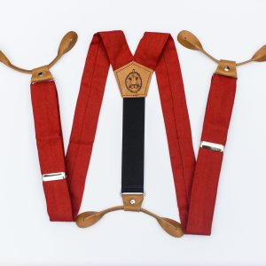 Poppy Red Button Suspenders
