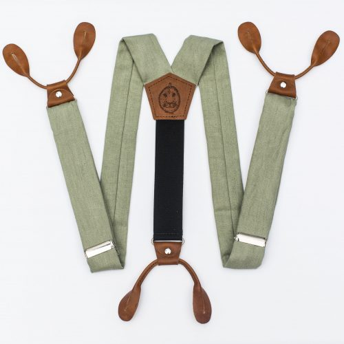 Sage Green Suspenders - Wide Strapped Button Suspenders