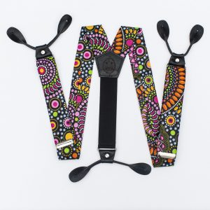 Mandala Wide Button-on Suspenders - Fun Suspenders