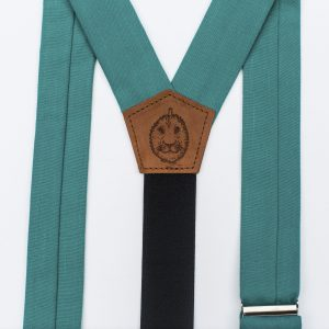 Teal Wide Strapped Button Suspenders