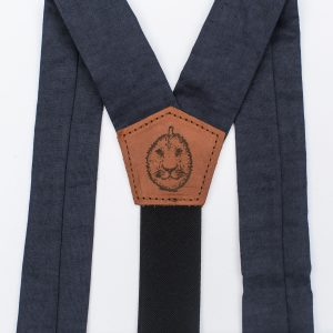 Navy Wide Strapped Button Suspenders