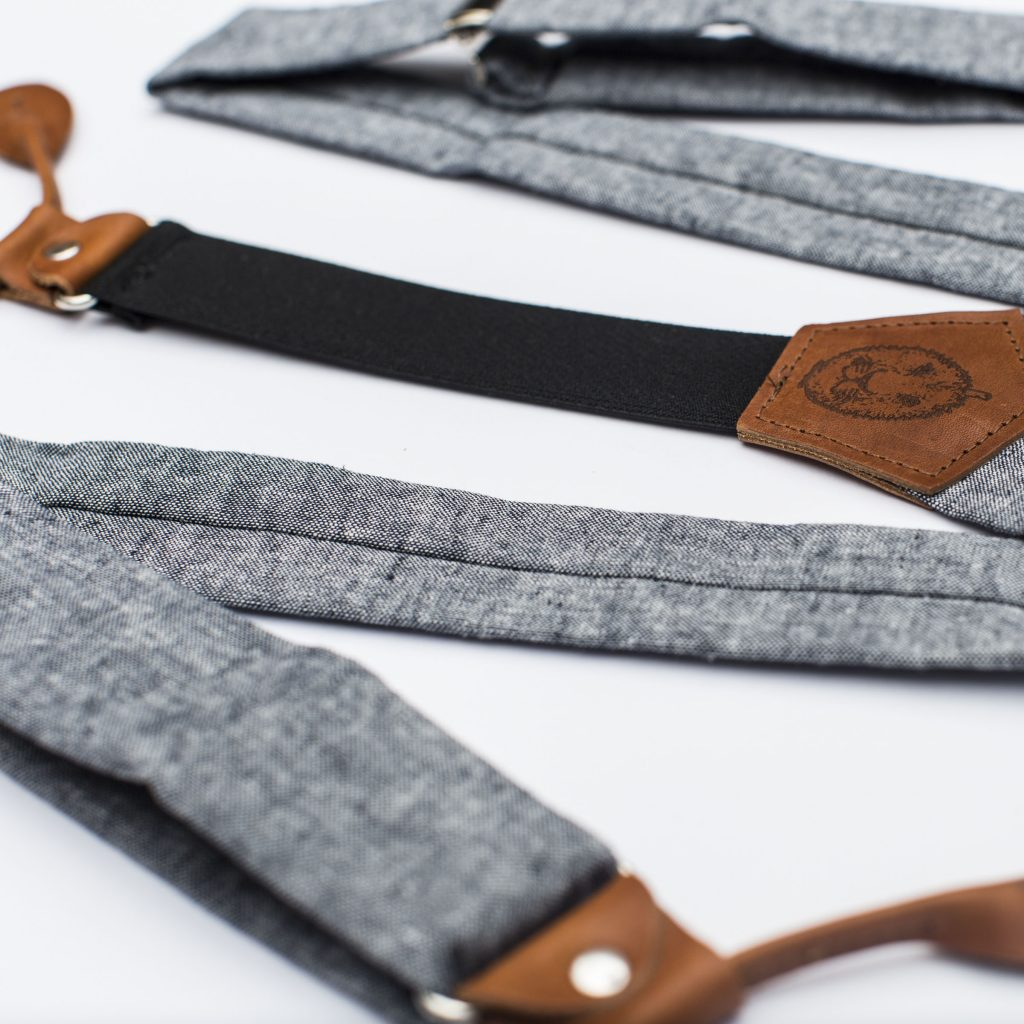 "Indigo Linen 1.5"" Button-On Suspenders"