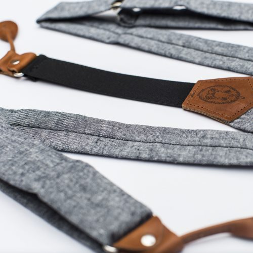Indigo Button-On Suspenders