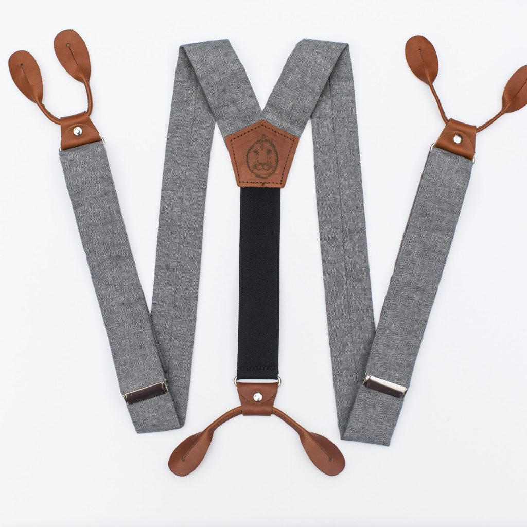 "Gray Linen 1.5"" Button-On Suspenders"