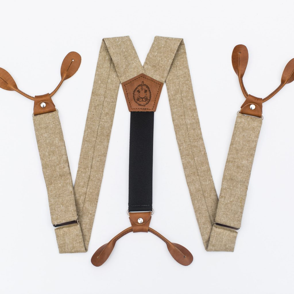 "Tan Linen 1.5"" Button-On Suspenders"