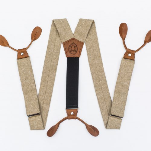Tan Button-On Suspenders
