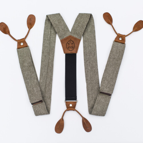 "Olive Linen 1.5"" Button-On Suspenders"