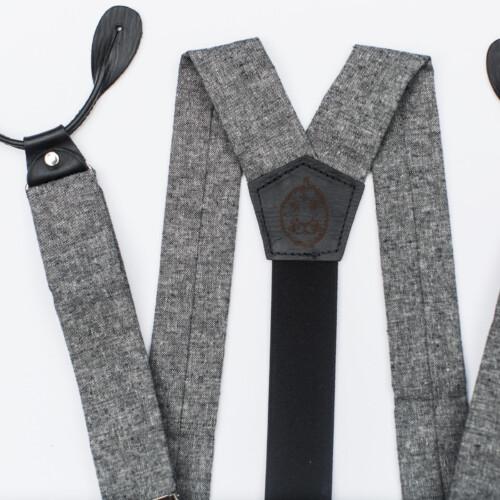 Black Linen 1.5″ Button-On Suspenders