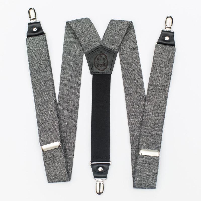 Black Linen 1.5″ Clip-On Suspenders
