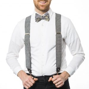 "Black Linen 1.5"" Clip-On Suspenders"